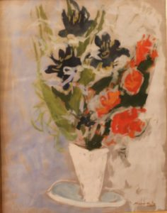 VASE OF FLOWERS WITH BRIDE AND GROOM BY MANE KATZ