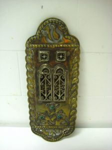 LARGE BRASS AND SILVER FILIGREE MEZUZAH CASE