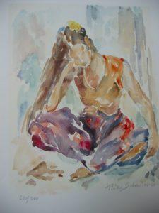 Seated Girl Rika Schwimer | Joy Schonberg Gallery