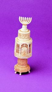MAJESTIC HIGHLY ORNATE IVORY SPICE CONTAINER