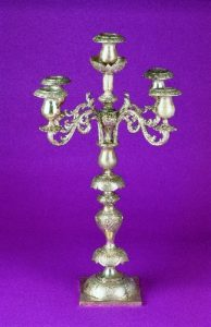 SILVER AND SILVER-PLATED FIVE-LIGHT CANDELABRUM